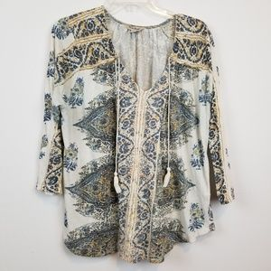 Lucky brand BOHO style blouse top size XL